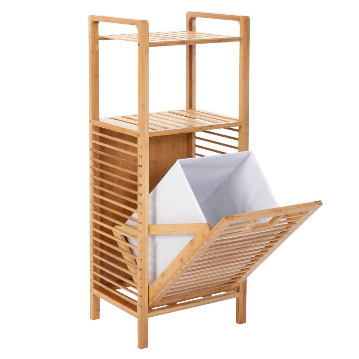 Etagere Meuble Pour Salle De Bain En Bambou Avec Panier A Linge 100x40 Decoshop26