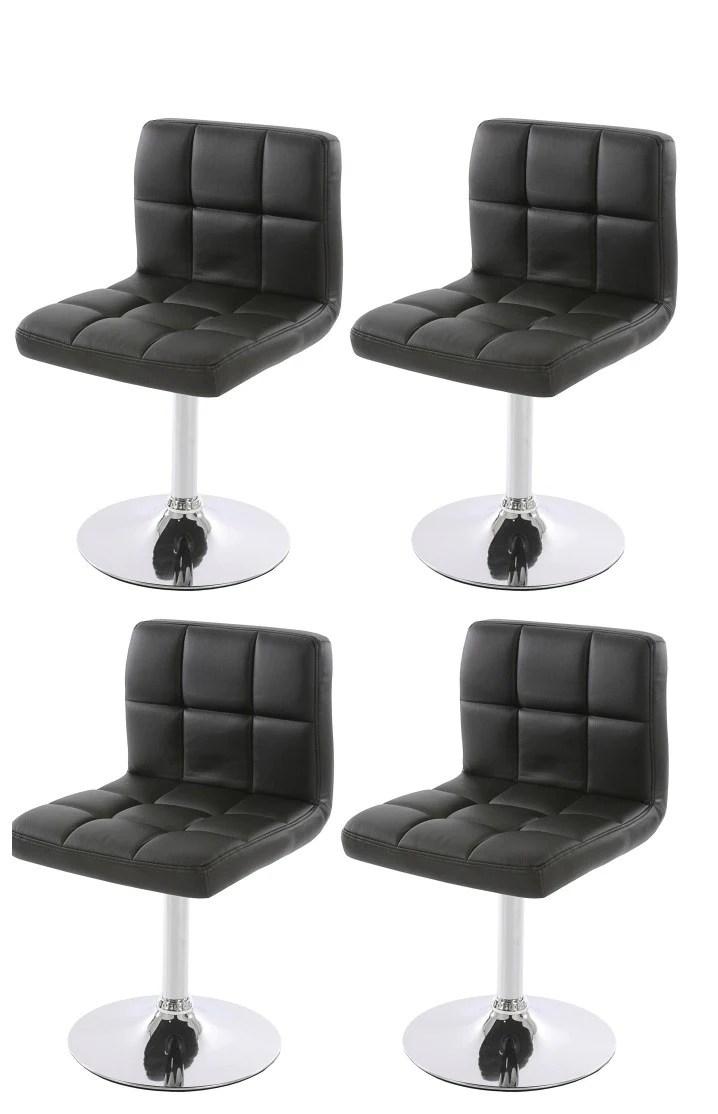 lot de 4 chaises fauteuils de salle a manger en simili cuir noir cds04 decoshop26
