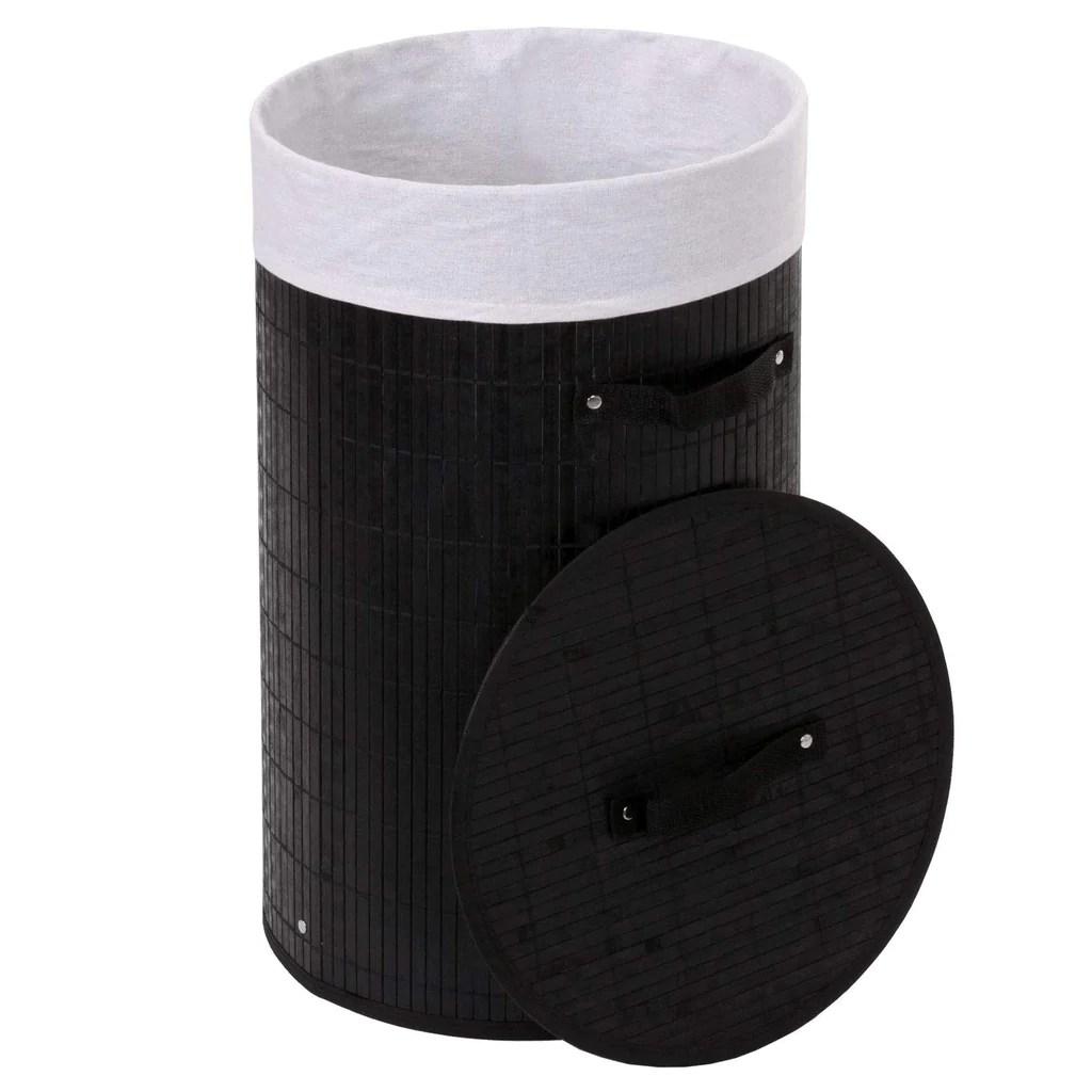 Panier Corbeille A Linge En Bambou Noir 50l Avec Poignees 59x35cm De Decoshop26
