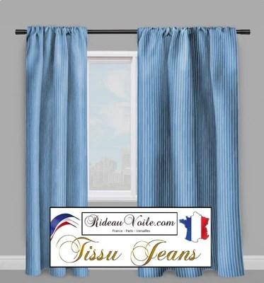 tissu deco 100 jeans denim leger a rayures bleu blanc au metre rideau coussin