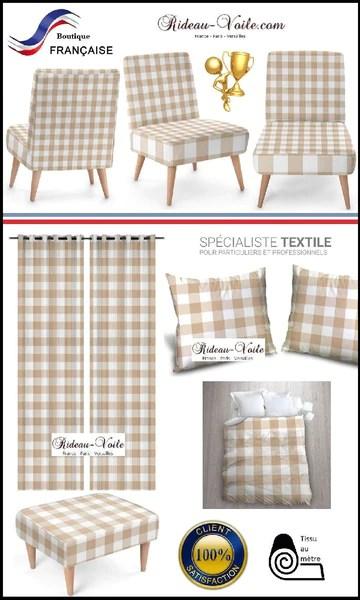 https rideauvoile com products carreaux vichy tissu au metre carre beige blanc rideau couette coussin voilage 1