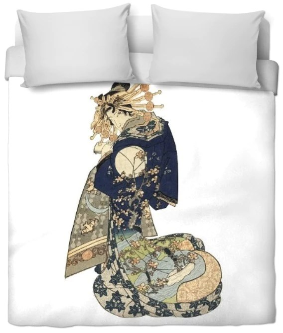Tissu A Motif Femme Japonaise Geisha Sur Rideau Couette Coussin Estamp Rideauvoile