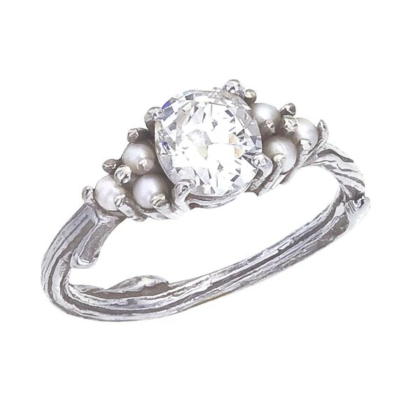 Custom Antique Diamond And Pearl Engagement Ring With