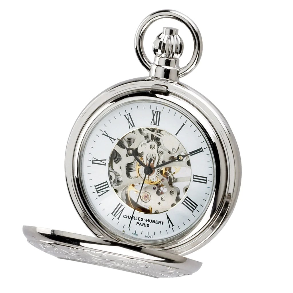 Demi Hunter Case Mechanical Pocket Watch Chrome The