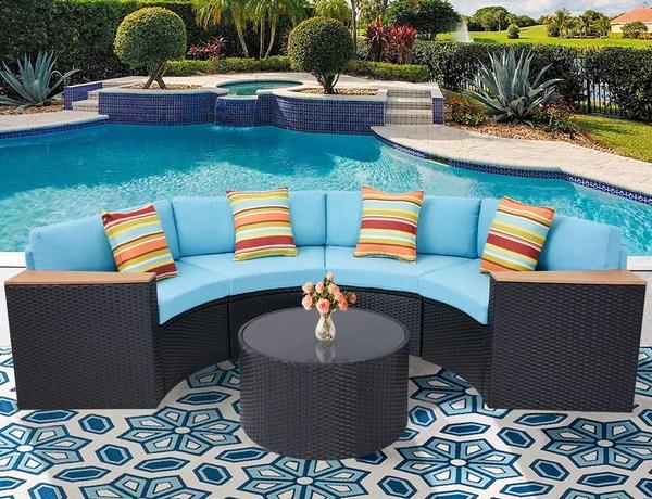 5 piece half moon patio furniture set