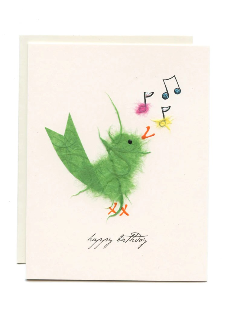 Happy Birthday Bird W Music Notes Flaunt Cards