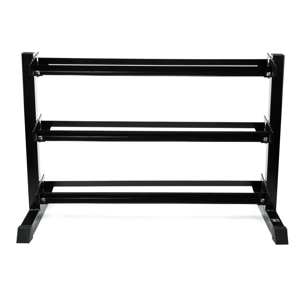 three tier dumbbell rack commercial 3 level holds 5 lb to 50 lb du sparks fitness equipment