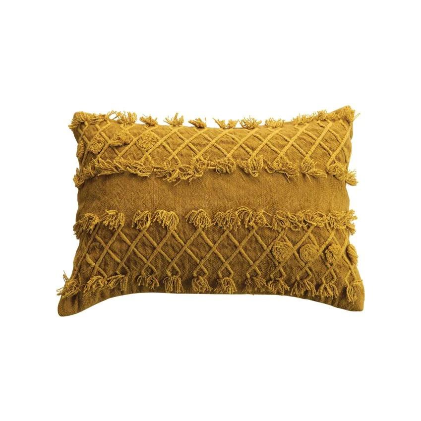textured fringe mustard lumbar pillow