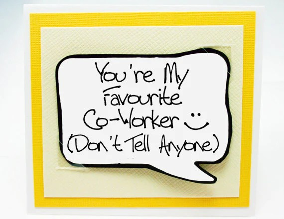 Co Worker Birthday Card Funny Card For Co Worker Friends Yellow Note Card Kat N Drew Cards