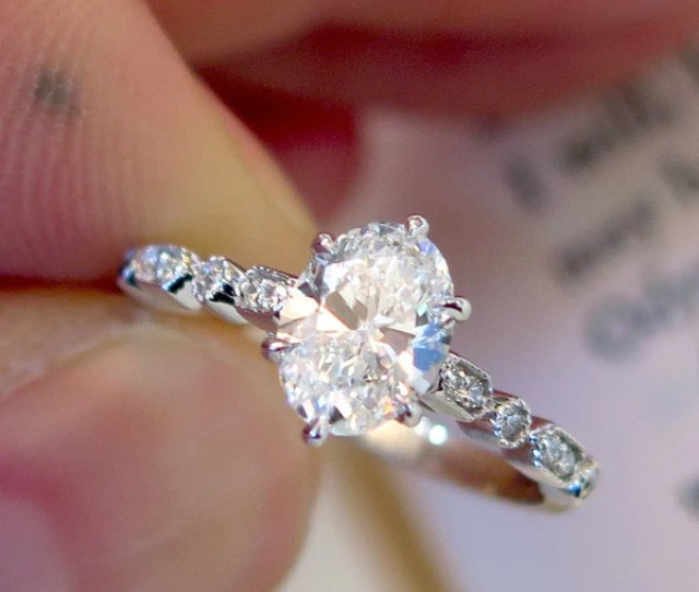 Tulia Oval Diamond Engagement Ring On Hand Art Deco Inspired Delicate