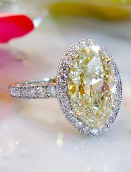 Veda 453ct Oval Yellow Diamond Halo Engagement Ring