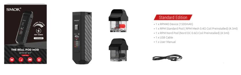 Smok RPM 40 Vape Pod System VW Starter Kit Includes