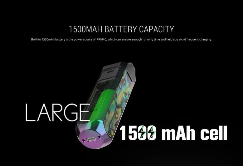 Smok RPM 40 Vape Pod System VW Starter Kit 1500mAh Battery Capacity