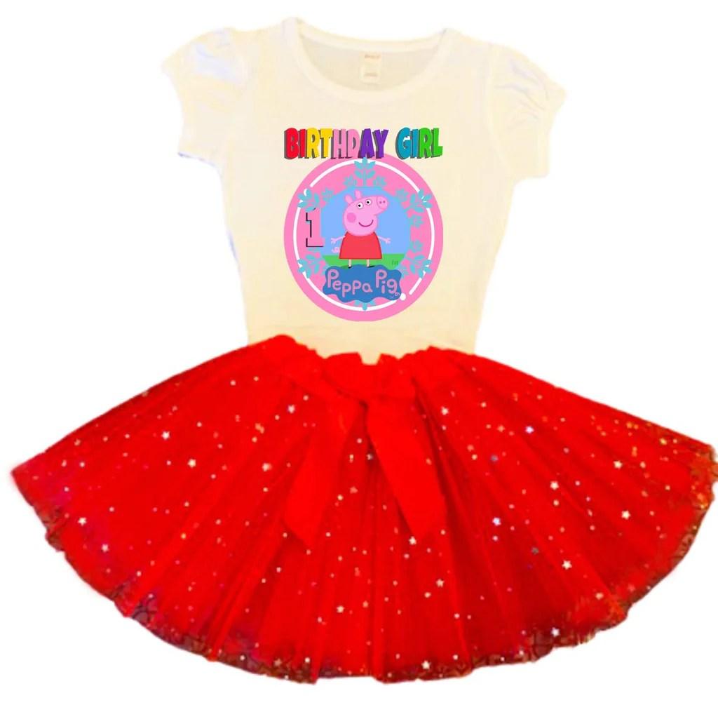 Peppa Pig Birthday Tutu Party Dress Red Tutu Outfit Birthdaytutustore