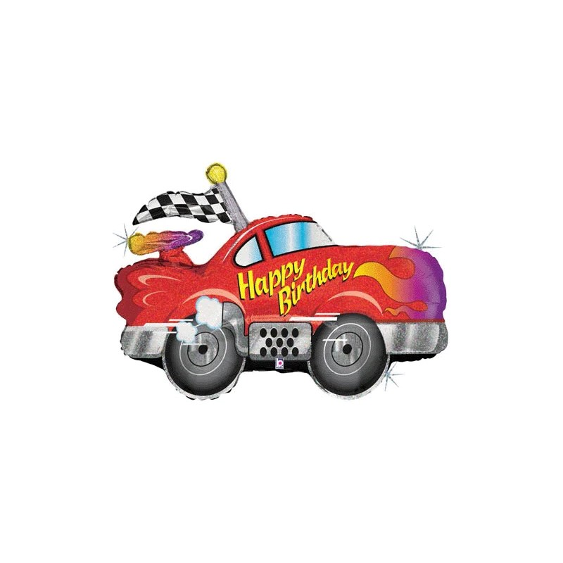 Holographic Happy Birthday Racing Car Jumbo Foil Balloon 86cm Party Things Online Party Supplies