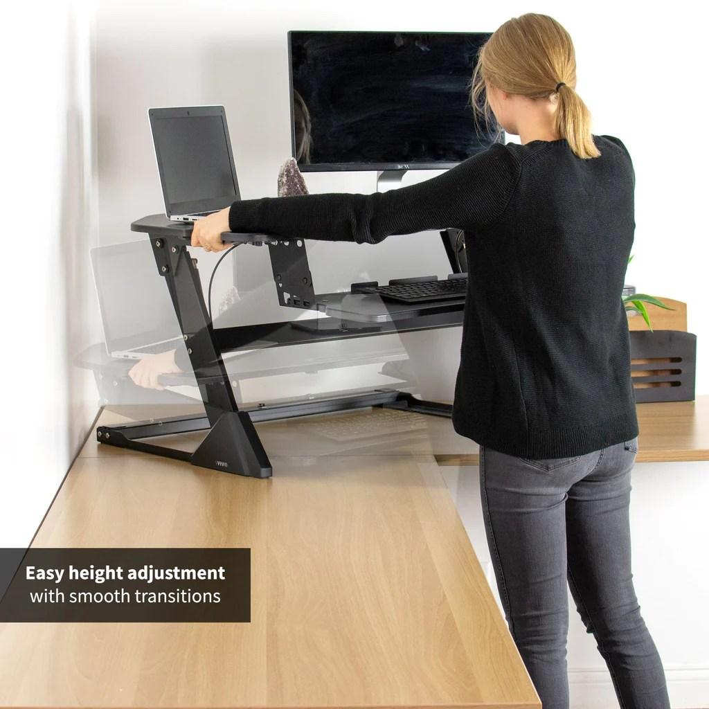 Vivo 41 Black Corner Desk Riser Sit Stand Converter Desk V000lc