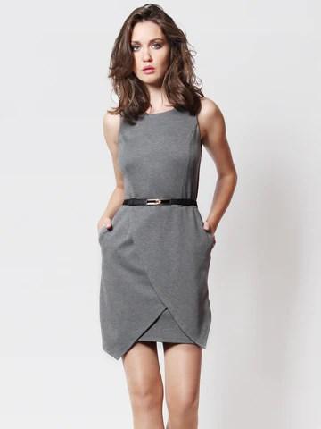 Gina Petal Hem Dress with Belt Grey *Backorder*