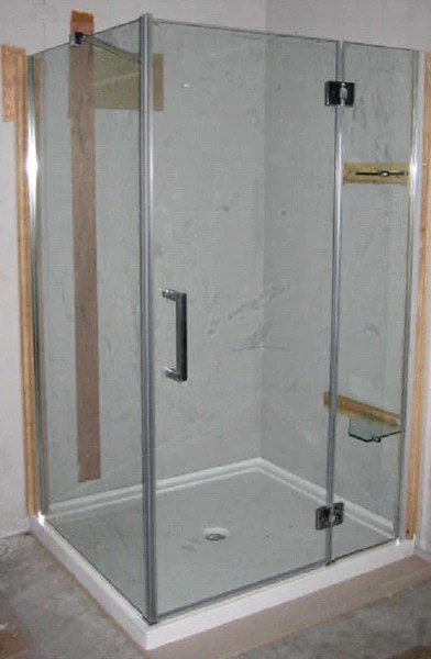 XWSH201 CC Frameless Corner Shower With Cast Acrylic Base