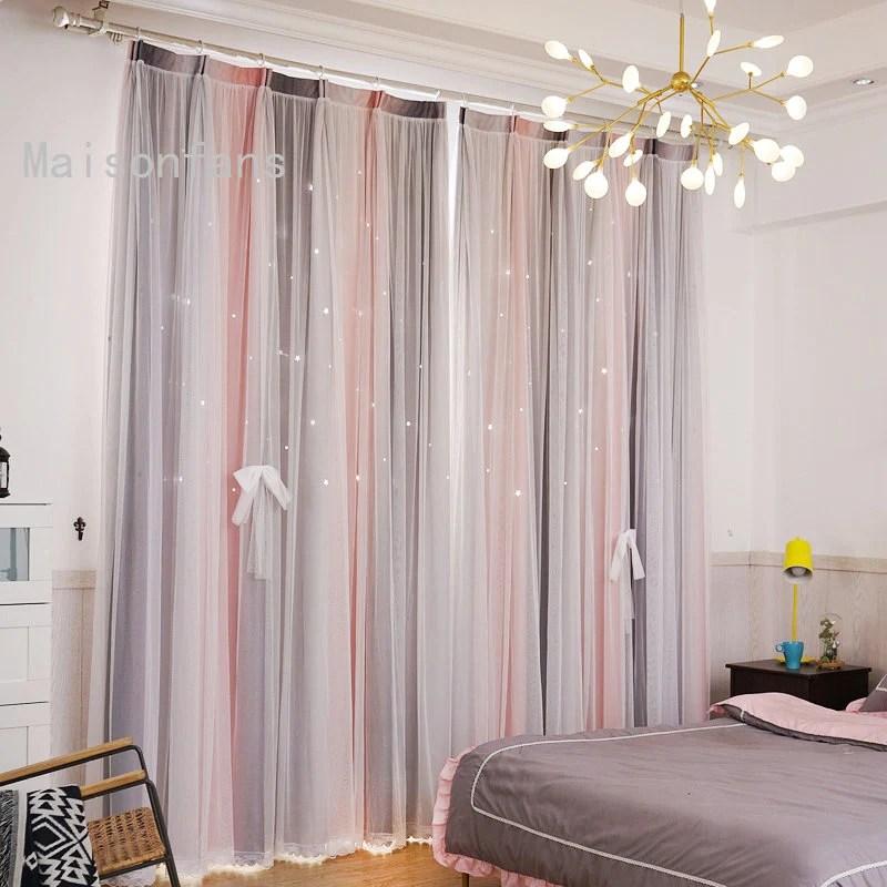 rideau avec voilage etoile creusant scandi pastel 140 x 240 cm chambre fille bebe