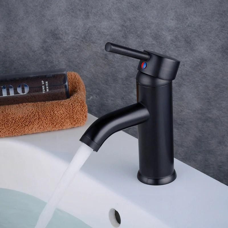 mitigeur de lavabo noir mat en laiton robinet de salle de bains pas cher