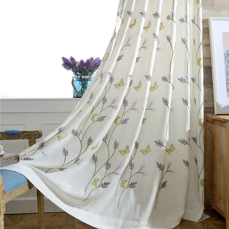 rideau papillon broderie tamisant a œillets campagne 140 x h240 cm
