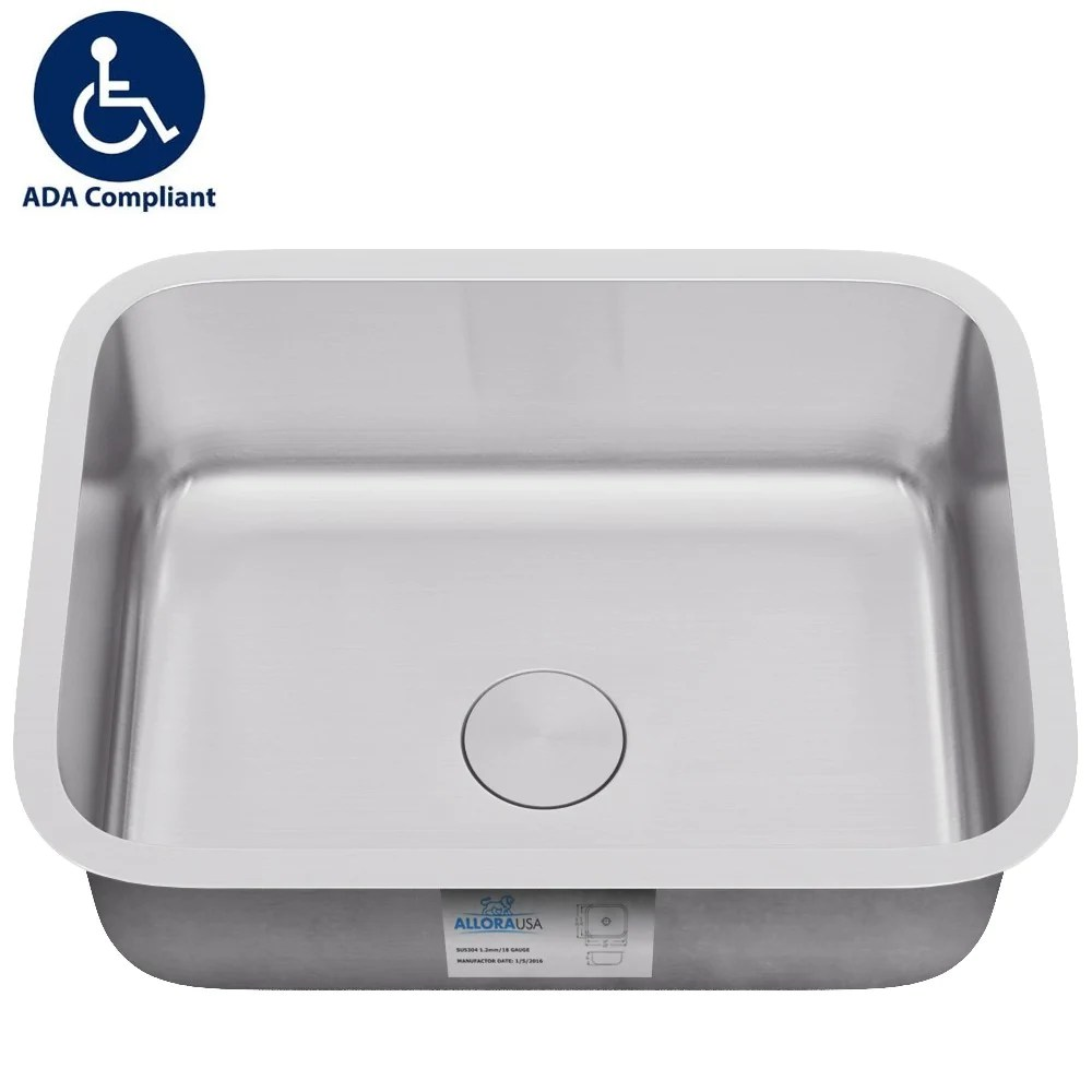 allora usa ada 2718 27 x 18 x 5 1 2 undermount single bowl 18 gauge stainless steel kitchen sink