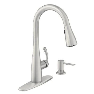 moen essie single handle pull down sprayer kitchen faucet with soap dispenser in spot resist stainless