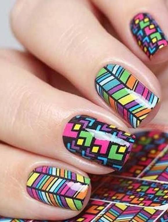 Neon geometrics nail design