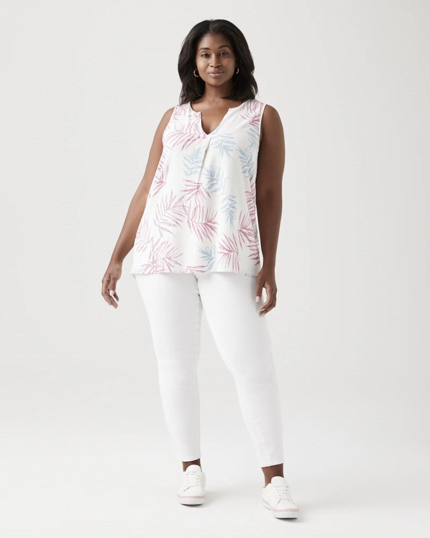 B. Collection Tiffany Sleeveless Blouse - Pink / White, Size 4X (26-28), Dia&Co
