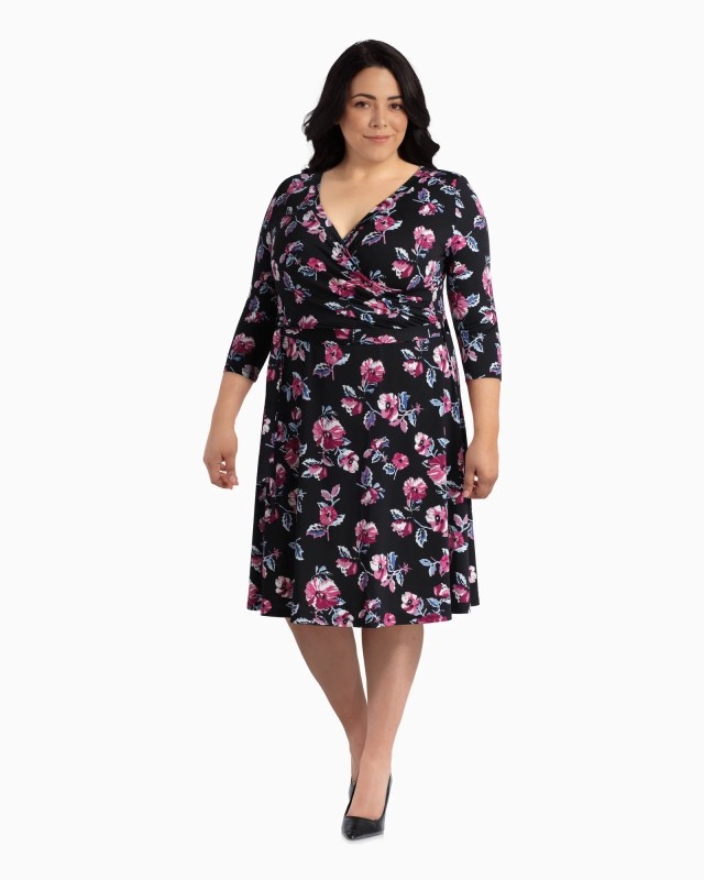 East Adeline Orlando Faux Wrap Dress - Black / Pink, Size 1X (14-16), Dia&Co