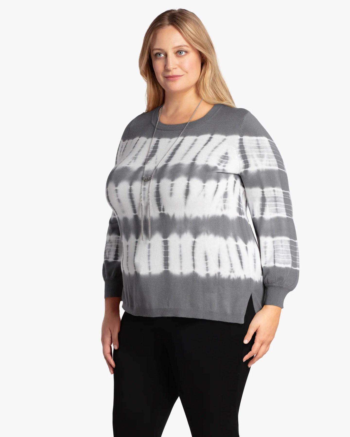 Single Thread Tie-Dye Long-Sleeve Crewneck - Charcoal Grey / White, Size 2X (18-20), Dia&Co