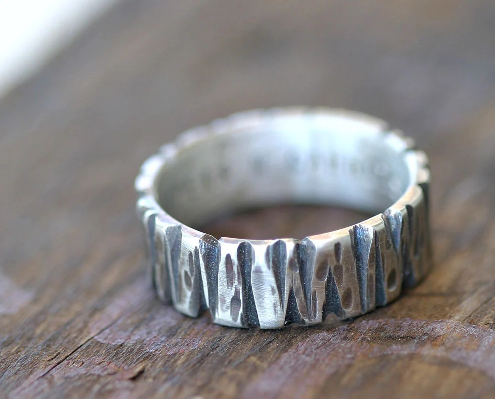 Tree Bark Mens Wedding Ring 14k Gold Monkeysalwayslookshop