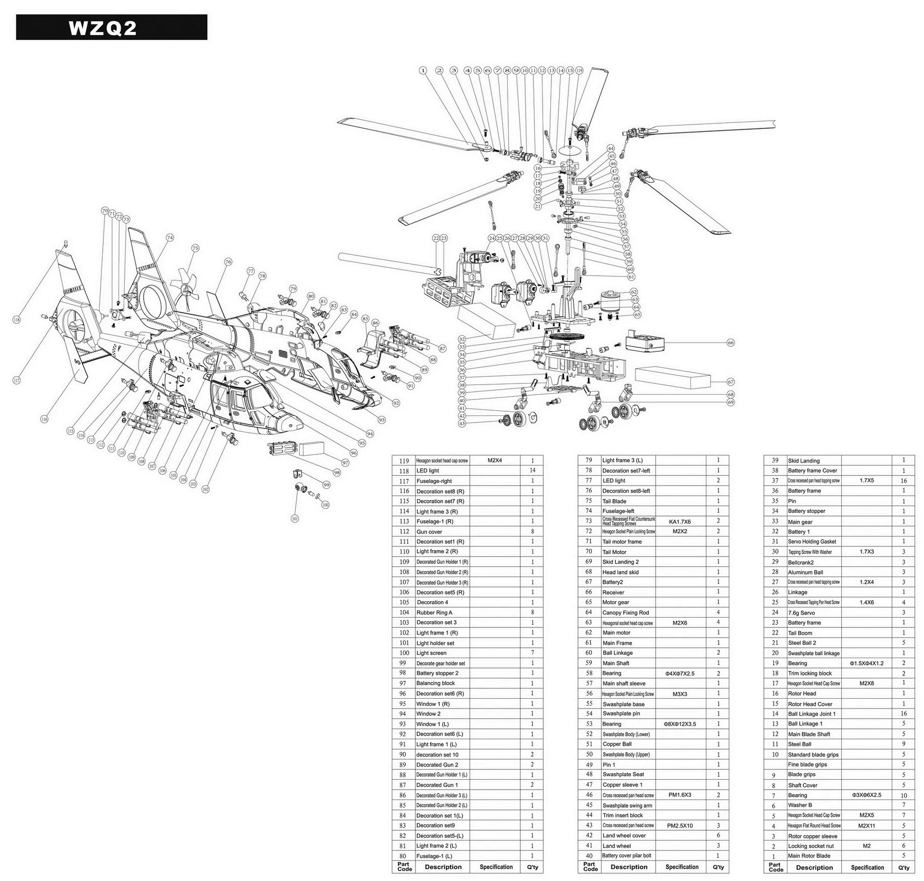 MyRCVision — Walkera WZQ2 WZ Q2 Exploded Parts Diagram