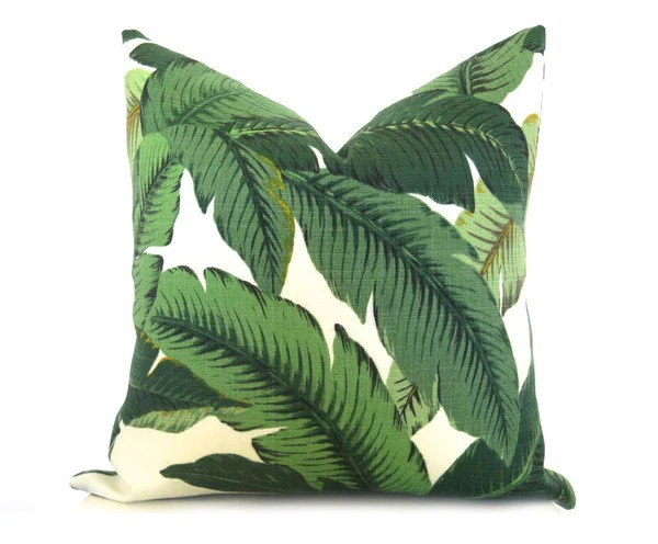 palm leaf pillow cover green