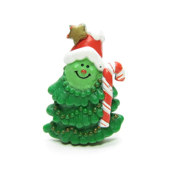 Christmas Tree Pin Vintage Hallmark Lapel With Candy Cane