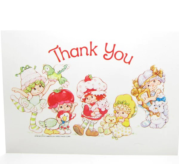Thank You Postcard With Strawberry Shortcake Amp Friends