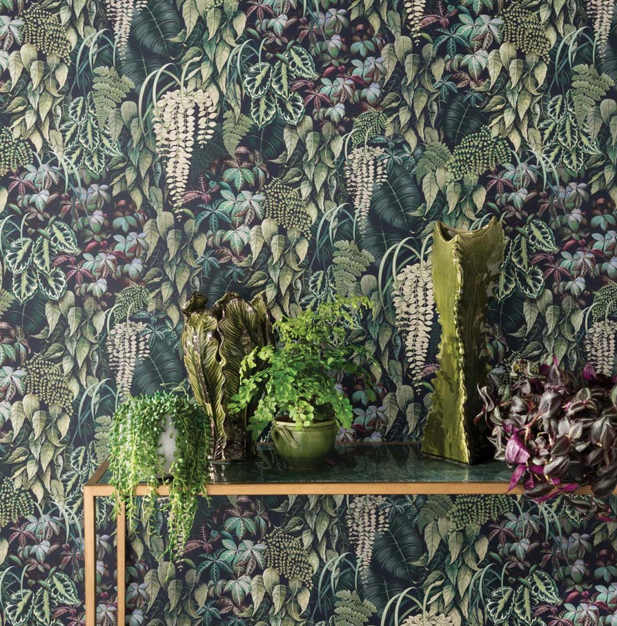 Green Wall Wallpaper In Emerald Green From The Folium Collection By Os Burke Decor