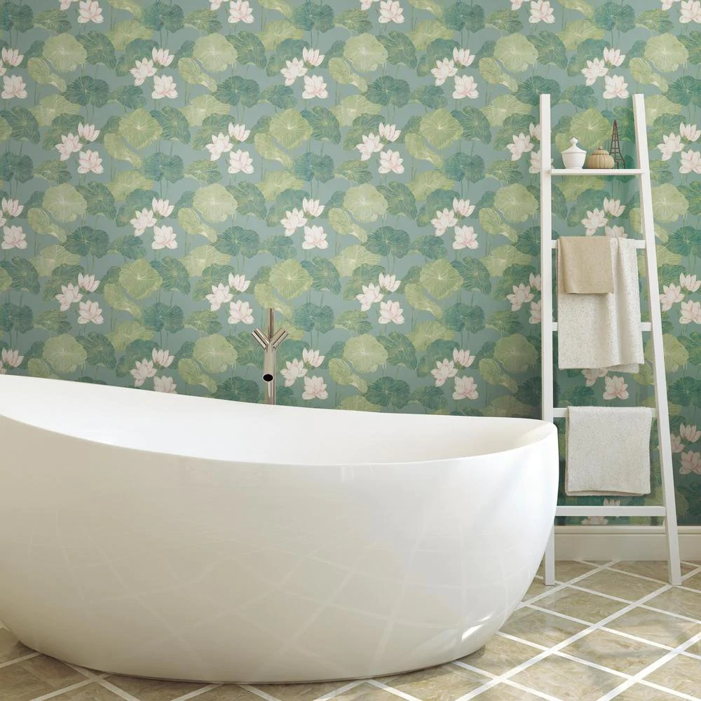 lily pad peel stick wallpaper in blue and green by roommates for yor