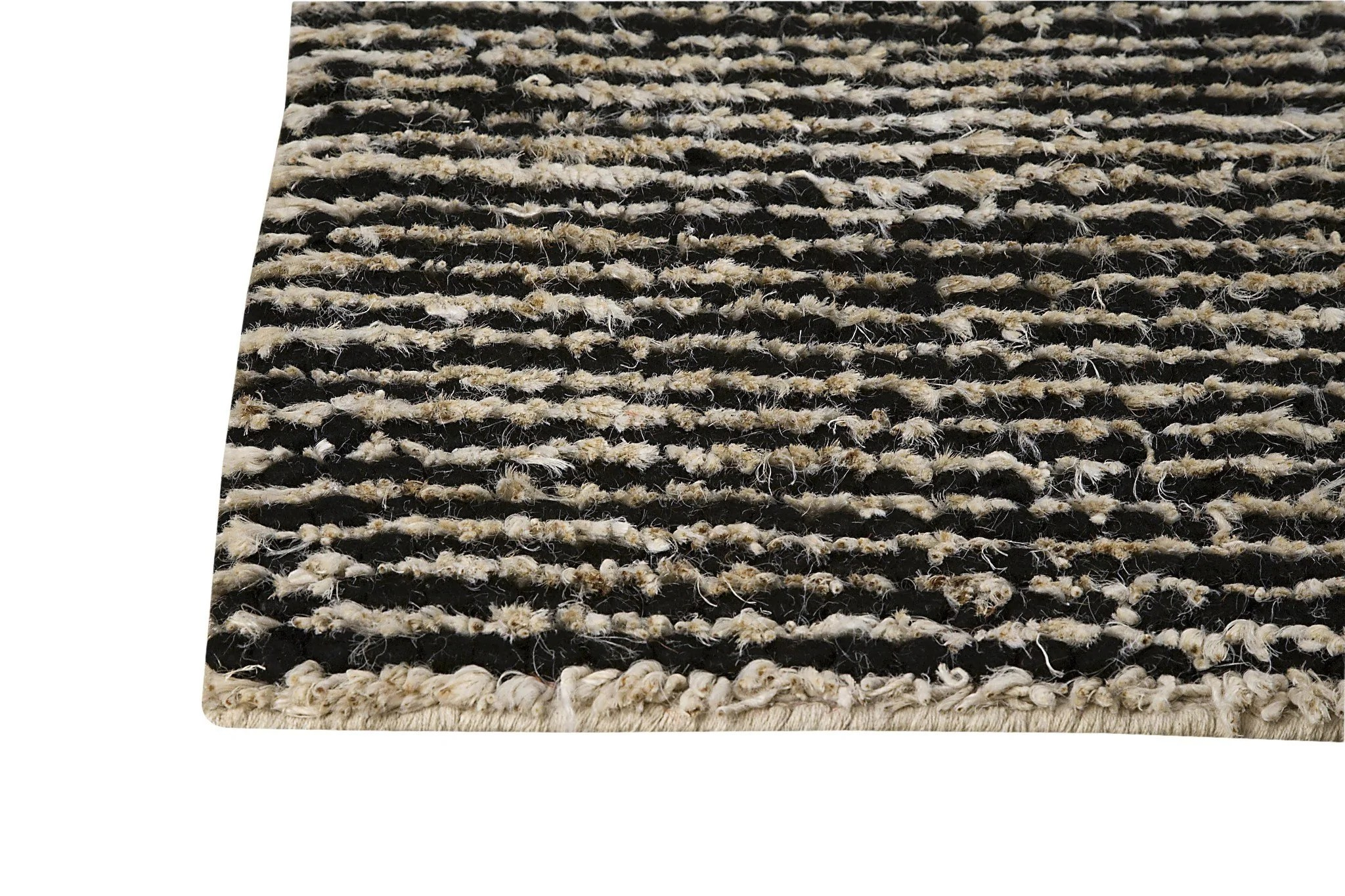 Nature Collection Hand Woven Wool And Hemp Area Rug In Black And White Burke Decor