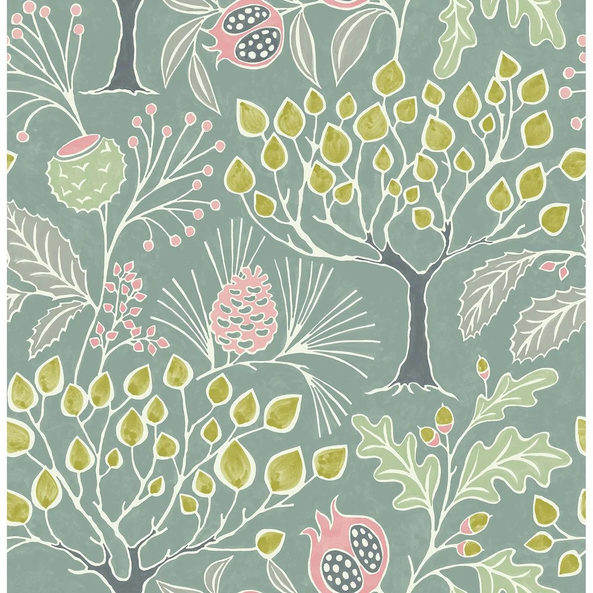 Shiloh Botanical Wallpaper In Green From The Bluebell Collection By Br Burke Decor