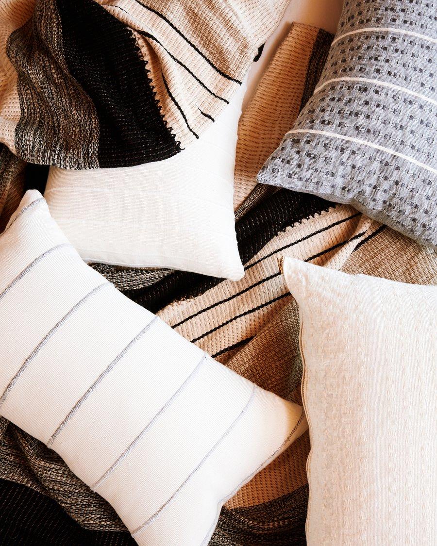recycled stripe lumbar pillow in grey