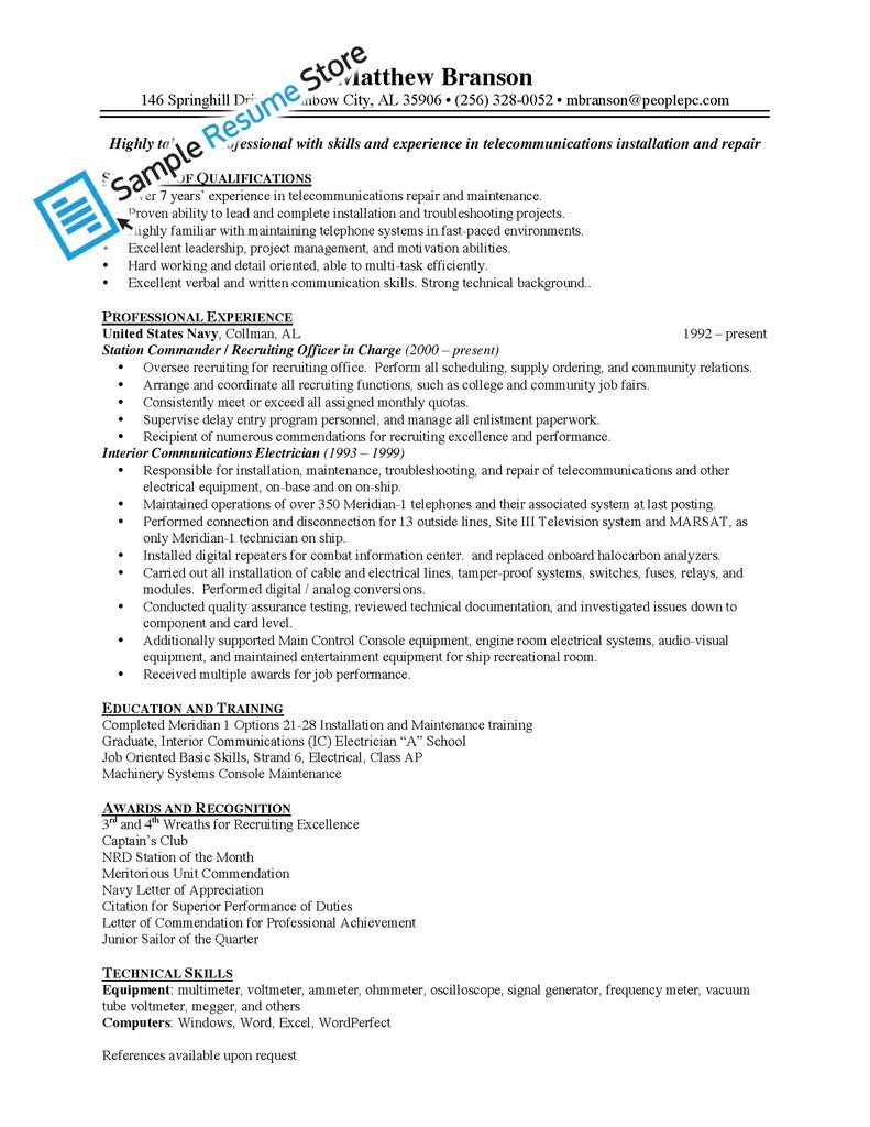 sample electrician industrial electrician