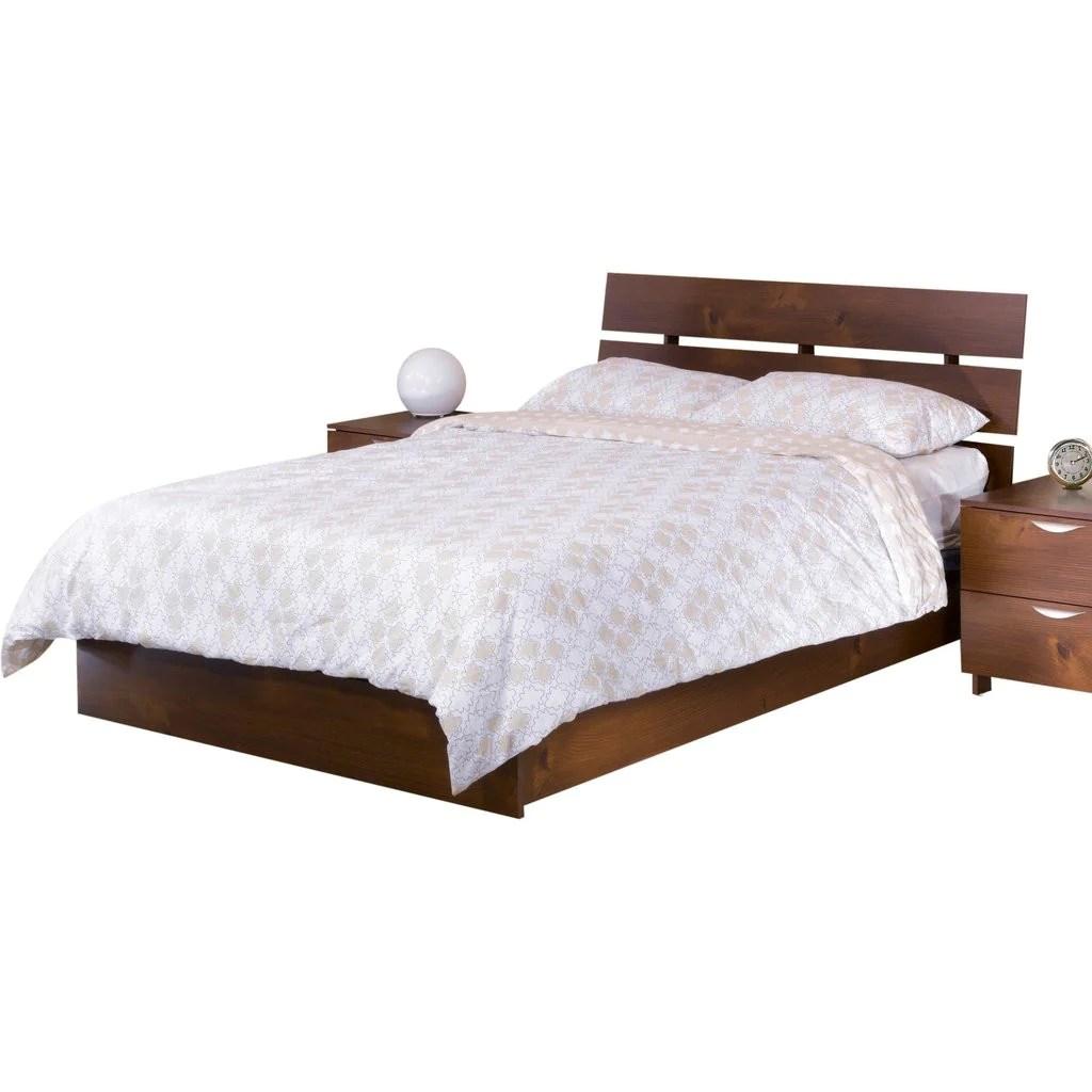 teak wood bed with slit headboard lomiges