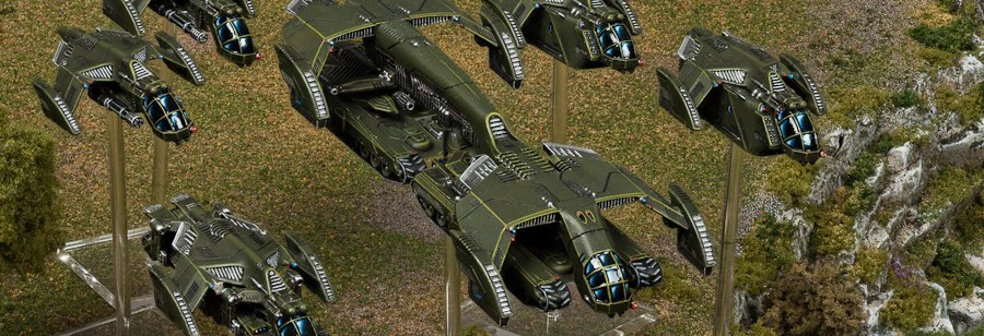 UCM dropships delivering their cargo with Falcon gunships in support.