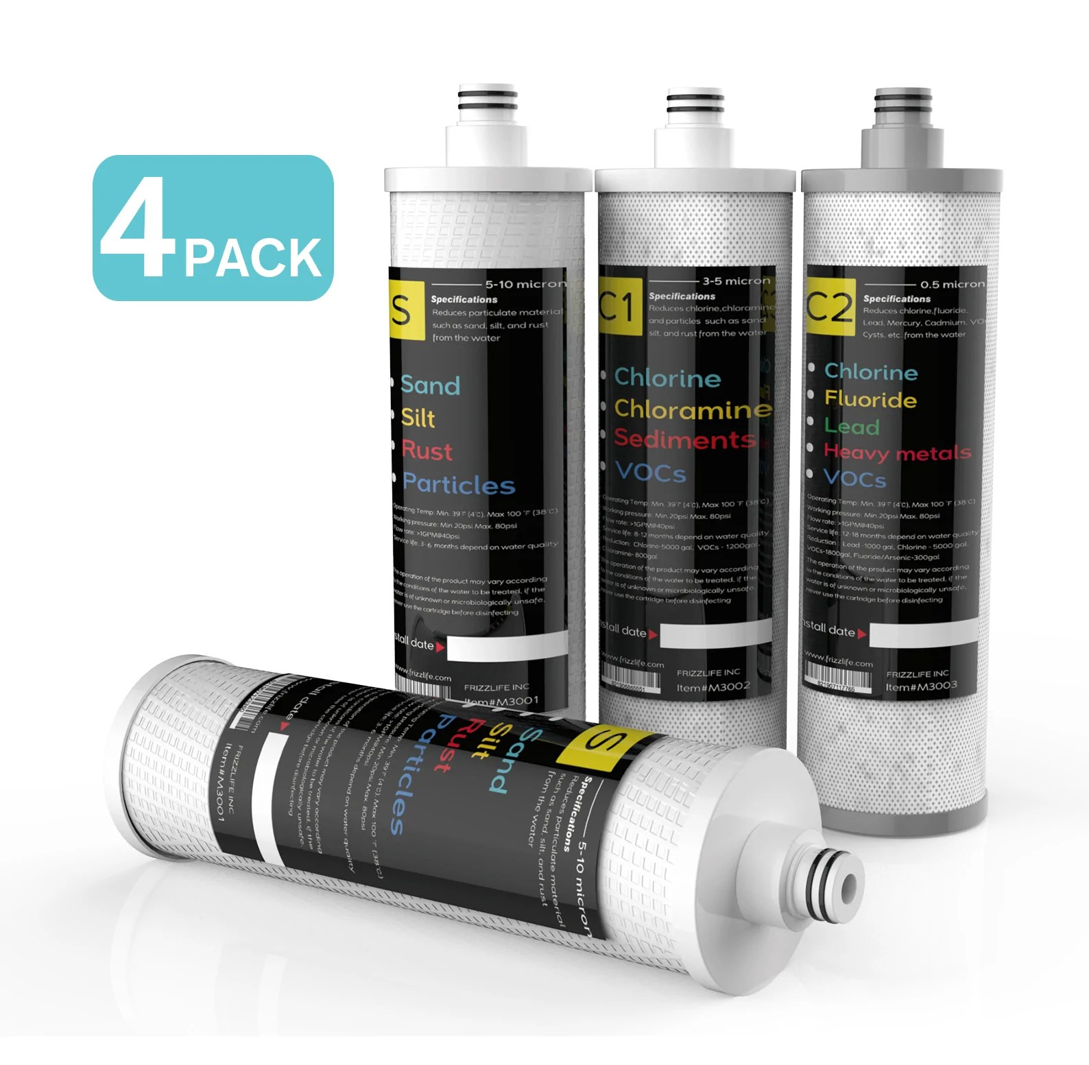 frizzlife m3005 replacement filter cartridge set 4 pack for sk99 and sp99 under sink water filter system