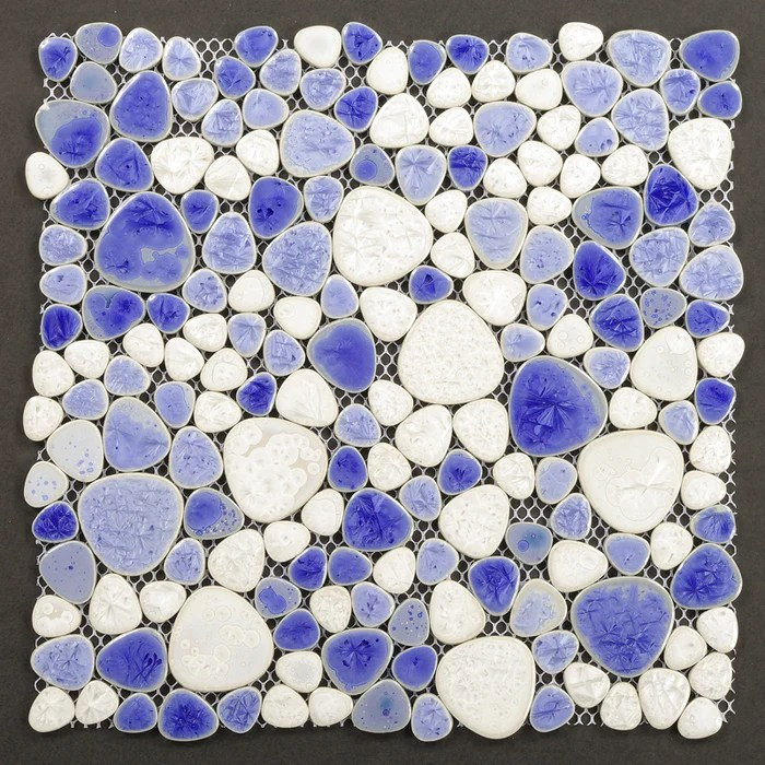 tst porcelain pebbles art fambe mosaic blue glazed pebble mosaic tile for bath floor outdoors decor