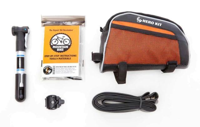 Super Hero Kit for Mountain Biking: w/ pump, tube & bag ...