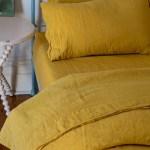 Scout Portuguese Linen Quilt Cover Set Queen Mustard Scout House