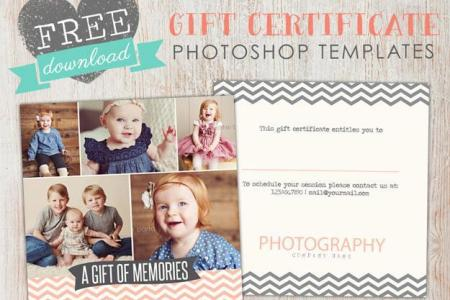 Free Gift Certificate template Photoshop     Birdesign April Free Photoshop Template