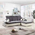L Shape Sectional Sofa Couch With Chaise Lounge And Adjustable Headrest